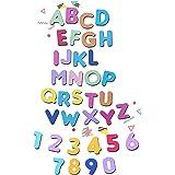 Crafting Dies – Lot de 2 emporte-pièces métalliques Thinlits avec chiffres et lettres de l'alphabet grand format 3,5 cm – 4 c