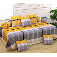 FESTIVAL HOME FURNISHINGS Polycotton 400TC Diwan Set (60X90 Inch Bedsheet 16x16inch Cushion Covers 18x28 inch Bolster Covers) Yellow