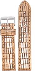 Kolet 18Mm Texture Reptile Leather Watch Strap (Tan)
