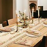 Tayis Chemin de Table 40 x180cm,Chemin de Table de Broderie Florale pour Décor de Table Vintage de Mariage Rustique (Rose)
