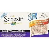Schesir - Comida humeda para gatos, atún con filetes de ternera, Pack de 6 x 50 gr