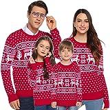 Aibrou Suéter de Navidad para Familia,Jersey de Copos de Nieve de Renos navideños para Mujer Hombre,Jersey Pullover de Punto