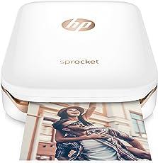 HP Sprocket Mobiler Fotodrucker (Drucken ohne Tinte, Bluetooth, 5 x 7,6 cm Ausdrucke) weiß