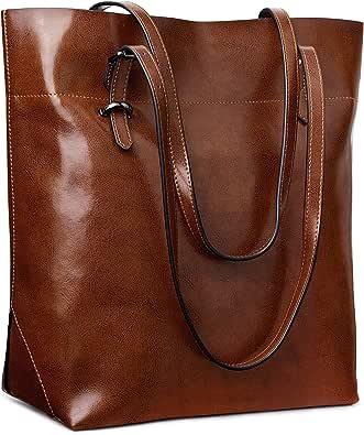 S-ZONE Handtasche Damen Echtleder Umhängetasche Schultertasche Große Shopper Tote Henkeltasche mit Verstellbaren Griffe