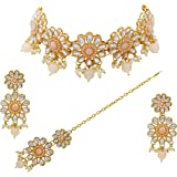 Saiyoni Traditional Gold Plated Peach Necklace Set for Women