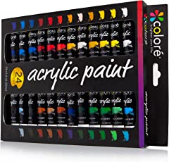 Colore Set di vernice acrilica – Perfetto per dipingere su tela, creta, tessuto, nail art e ceramica – Ricchi di pigmenti di lunga durata – Ideale per principianti, studenti e artisti - 24 colori