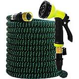 Garden Hose Expandable Hose - Heavy Duty Flexible Leakproof Hose-10-Pattern High-Pressure Water Spray Nozzle & Bag & Plastic