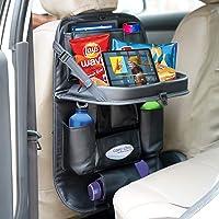 CADDYFULL Leather Car Back Seat Organiser with Folding Dining Table Tray, Ipad Holder, Mobile Holder, Multi Pocket…