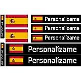 Pegatinas de Bandera con Nombre Personalizado para Bicicletas, Motos, Coches y patinetes eléctricos. 9 Etiquetas Adhesivas co