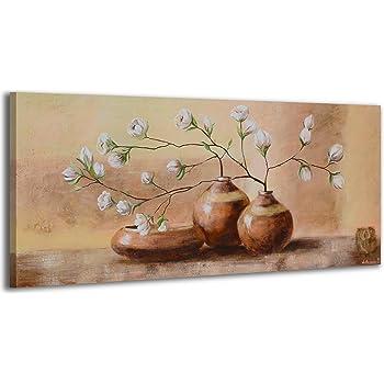 magnolien in der vase wandbild blumen bilder auf leinwand 100x55 cm 1 teilig. Black Bedroom Furniture Sets. Home Design Ideas