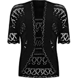 WearAll Womens Plus Size Crochet Knitted Short Sleeve Ladies Open Cardigan Top Sizes 16-20