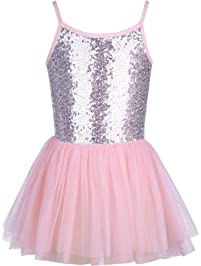 31931cfde2ae50 Mädchen Kleid Ballettkleid Kinder Ballett Trikot Ballettanzug mit Tütü  Röckchen Pailletten Ballett Kleid Türkis Shiny.