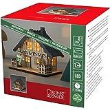 """Konstsmide Casa de madera LED """"Christmas Scene"""" con techo gris luz de Navidad / uso interior (IP20)/4 diodos blancos cálidos/"""