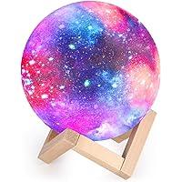 Lampe Lune 3D, Veilleuse LED Lampe Lune Tactile 16 Couleurs, 15cm Diamètre, USB Rechargeable Veilleuse Lune pour Chambre…