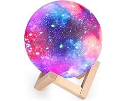 Lampe Lune 3D, Veilleuse LED Lampe Lune Tactile 16 Couleurs, 15cm Diamètre, USB Rechargeable Veilleuse Lune pour Chambre Salo