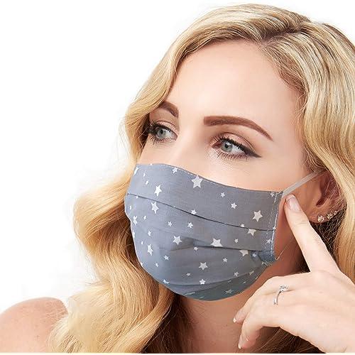 Maschera per il viso alla Moda, Handmade, Riutilizzabile, 100% Cotone, Motivo a Stella Grigia