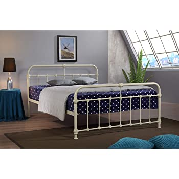 Mandy Double Metal Bed Frame Cream Hospital Victorian Style Small Double  King Size Bed (5FT