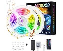 Ruban LED 10M, VITCOCO 5050 RGB Bande LED Lumineuse Multicolore 300 LEDs avec Télécommande à Infrarouge 44 Touches 12V 5A, po