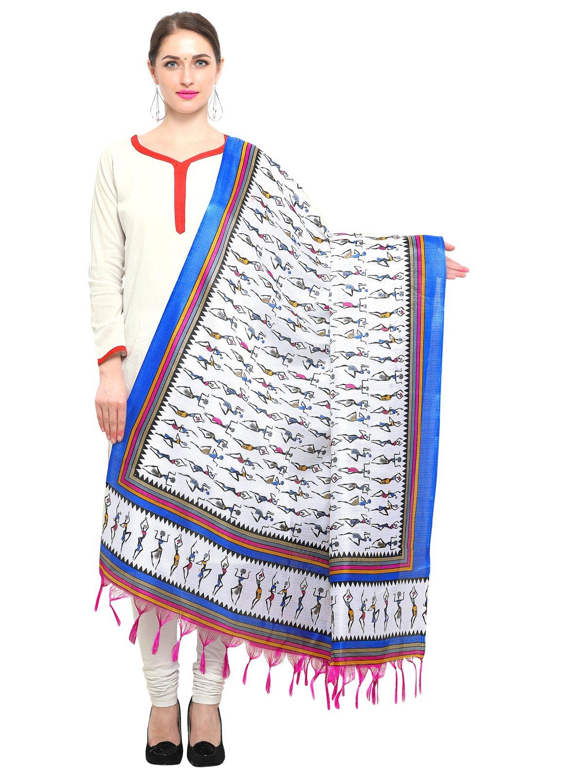 Kanchnar Women's Off White,Royal Blue Art Silk Printed Dupatta