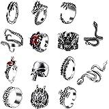 sailimue 14 Pcs Vintage Punk Rings for Men Women Cool Snake Tiger Dragon Skull Rings Adjustable Rings Set Gothic Jewelry