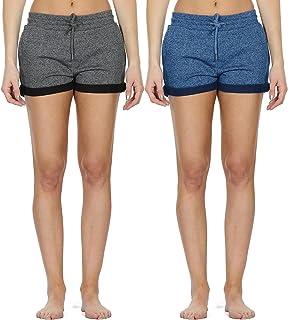 49b505f80672e3 icyzone Damen Sweatshorts 2er Pack Kurze Sporthose Gym Fitness Shorts