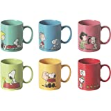 Excelsa Peanuts Set 6 Tazze Mug, Ceramica, Multicolore, capacità: 350 ml