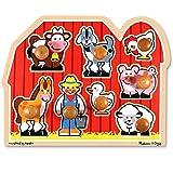 Melissa & Doug Farm Friends Large Wooden Peg Puzzle, Multi-Colour, 13391