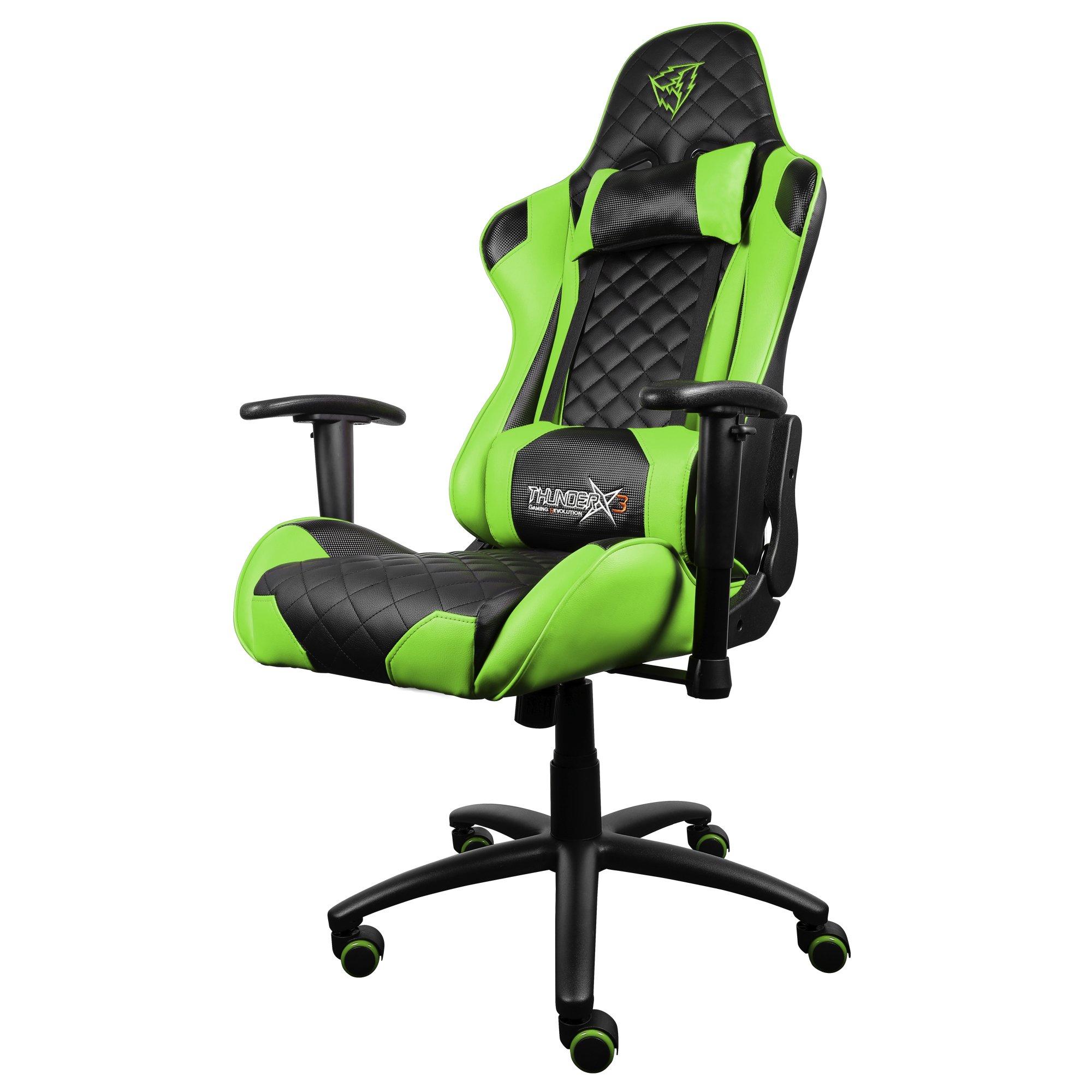 ThunderX3 TGC12BG-Silla gaming profesional- (Estilo Racing, Cuero sintético, Inclinación y Altura regulable, Apoyabrazos, Reposacabezas, Cojín lumbar) Color Negro y Verde