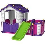 بست توي بيت لعب كبير للاطفال مع زحليقة و غرفة، متعدد الالوان