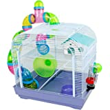 DZL® Jaula para Hamster(39.5X29.5X38CM) Color Azul/Purpura/Rojo se Entrega al Azar,Aviso Importante: el metacrilato Lleva un