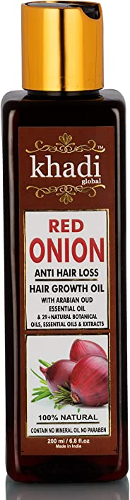 Khadi Global Red Onion Hair Oil for Hair Growth with Argan, Jojoba, Rosemary, Black Seed Oil in Purest Form Very Effectively