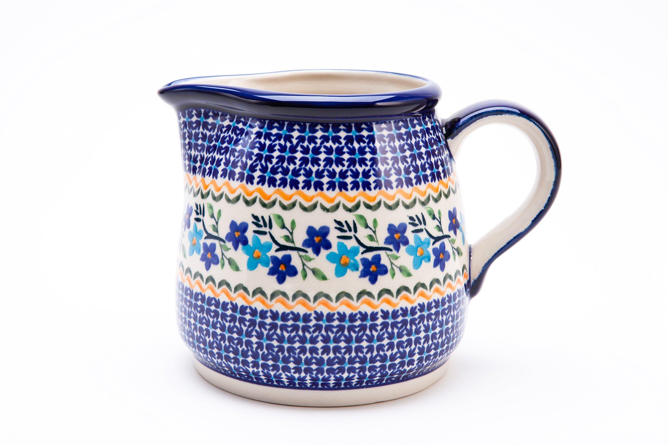 Hand-Decorated Polish Pottery Milk Jug/Water Carafe/Jug 1.2Litres Ø18,5cm, Height 13.5cm, Dekor 1154A