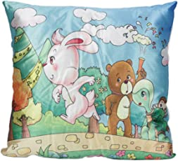 Ultra Printed Cushion for Kids - Rabbit and Tortise, Multi Color (13x13-inch)