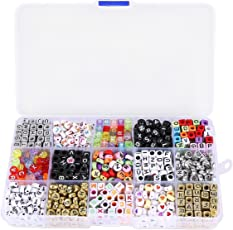 ULTNICE 1100-Pieces Mixed Acrylic Alphabet Letters Beads Charms Cube for Jewellery Making with Storage Box