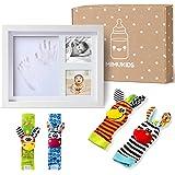MIMUKIDS marco huellas bebe con sonajeros bebes pies y manos - regalo bebe originales marco para huella bebe con juguete para