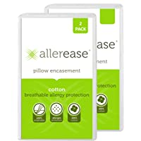 AllerEase 100% Cotton Allergy Protection Pillow Protectors - Hypoallergenic, Zippered, Allergist Recommended, Prevent…