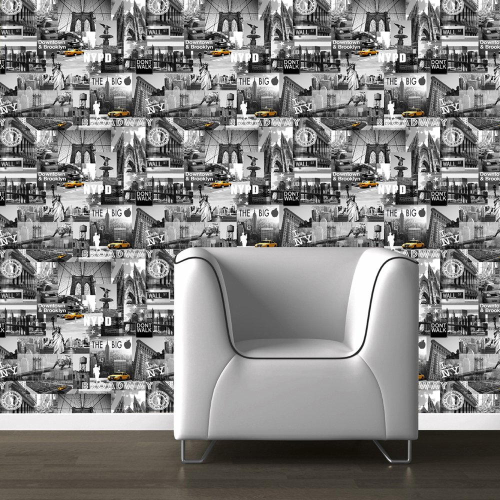 New York Skyline Wallpaper For Bedroom Muriva Big Apple New York City Wallpaper Black Grey Yellow