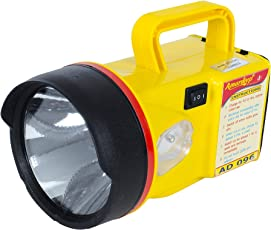 Amardeep (Made in India) 1W High-Bright L.E.D. Rechargeable Torch - YELLOW