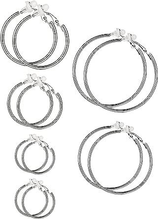 Set di orecchini a clip per donne e ragazze, diverse misure, non serve avere i lobi forati e Altro, colore: Argento, cod. Sumind-Hoop Clip On Earrings-01