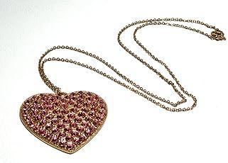 collana galvanica oro rosa con pendente cuore con strass Swarovski light amethyst