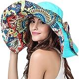 Womens Beach Hat Floppy Reversible Big Sun Hat Wide Brim Fedora SPF Hat UPF 50+ Blue