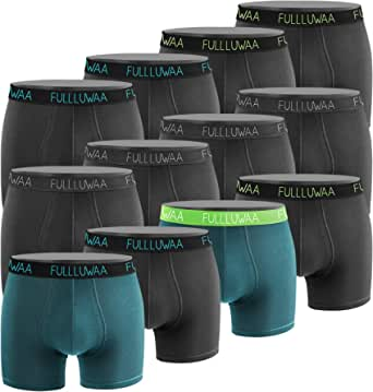 Fullluwaa Boxer Shorts Mens (Pack of 12) Cotton Briefs Fitted Trunks Quick-Dry Underwear