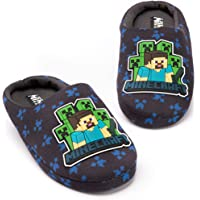MINECRAFT Pantofole Ragazzi Kids Blue Creeper vs Zombie House Shoes