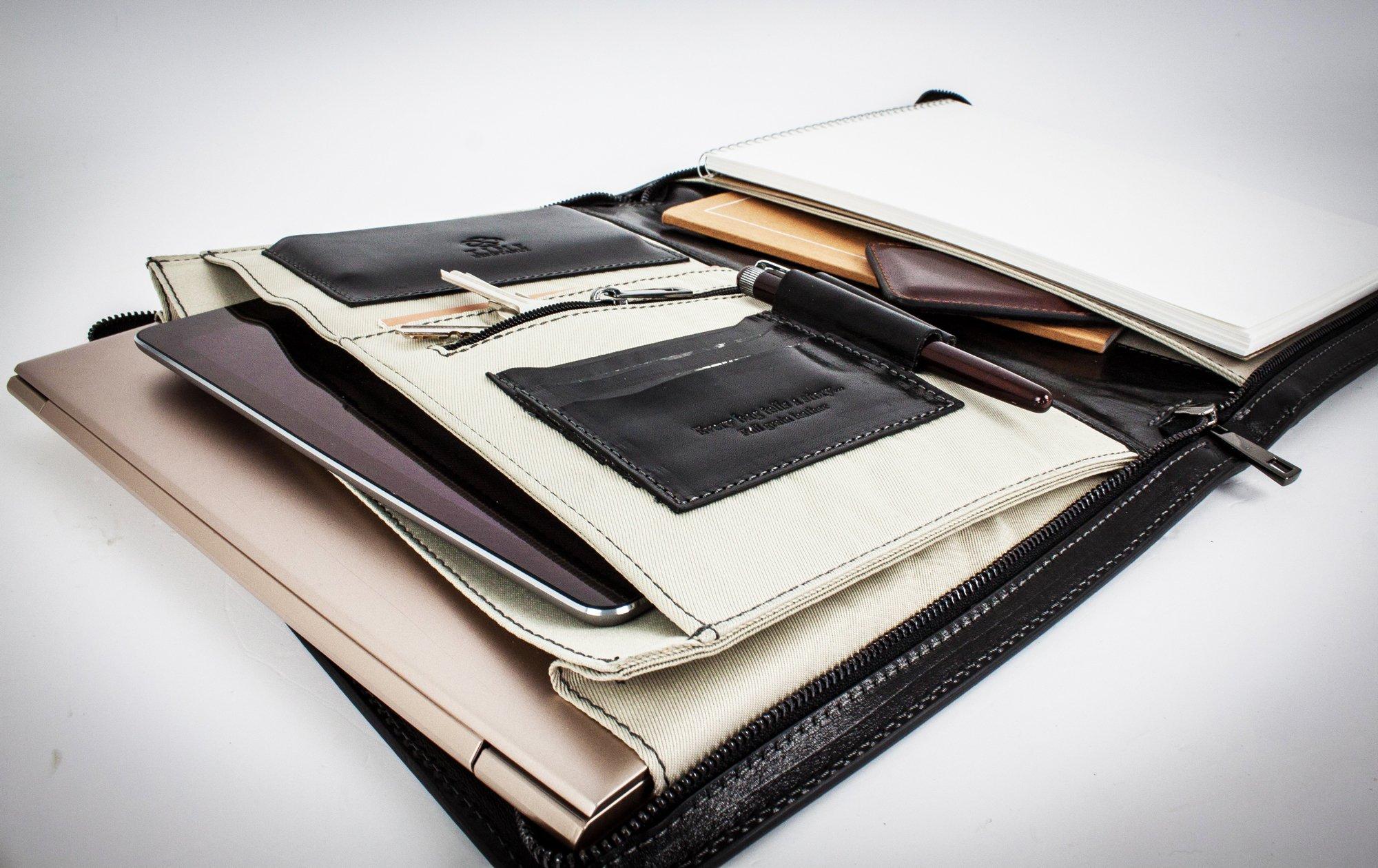 Porte documents en cuir leathario pochette à documents bloc note