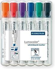 Staedtler Lumocolor 351 B WP6 Whiteboard-Marker, Keilspitze ca. 2 oder 5 mm Linienbreite, Set mit 6 Farben, hohe Qualität, trocken und rückstandsfrei abwischbar von Whiteboards