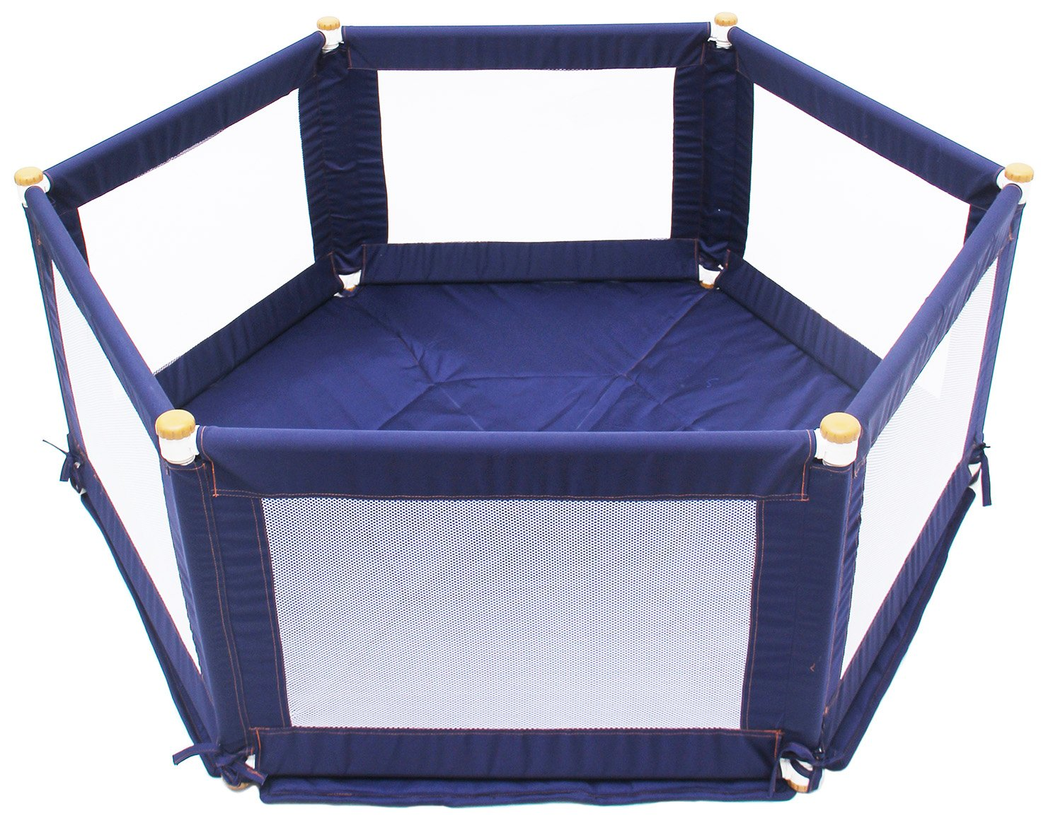 TikkTokk Pokano Fabric Playpen/Mat (Hexagonal, Blue) TikkTokk Fabric Baby Playpen - keep baby safe & secure whilst providing a large play area Crafted in beautiful, durable polycotton Thick padded, fitted floor mat 1