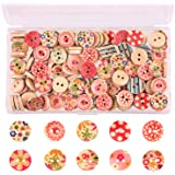 TUPARKA 170pcs Wooden Buttons Mix Painted Color Buttons for Sewing Scrapbooking DIY Craft Ornament, 15mm