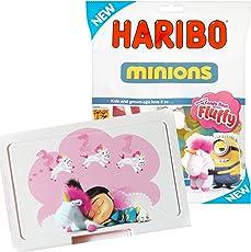 Einhorn Brotdose Lunchbox Ich Einfach Unverbesserlich + 150g Haribo Minions Fruchtgummi - Die Neuen mit den Haribo Minions Einhörnern