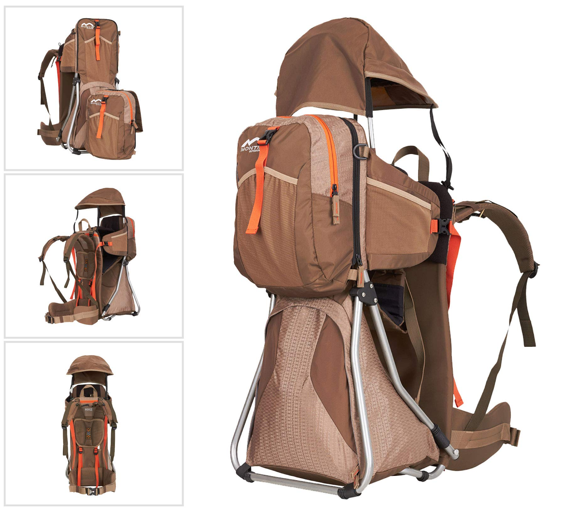 MONTIS HIKE, Premium Back Baby/Child Carrier, Up to 25kg, (mocha) M MONTIS OUTDOOR 89cm high, 37cm wide | up to 25kg | various colours | 28L seat bag Laminated and dirt-repellant outer material | approx. 2.2kg (without extras) Fully-adjustable, padded 5-point child's safety harness | plush lining, raised wind guard, can be filled from both sides | forehead cushion 1