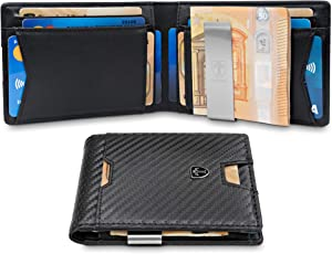 TRAVANDO ® Geldbeutel mit Geldklammer Zurich - 11 Kartenfächer - Münzfach - Schlankes Portemonnaie - RFID Schutz - Carbon-Optik - Geschenk Box - Designed in Germany